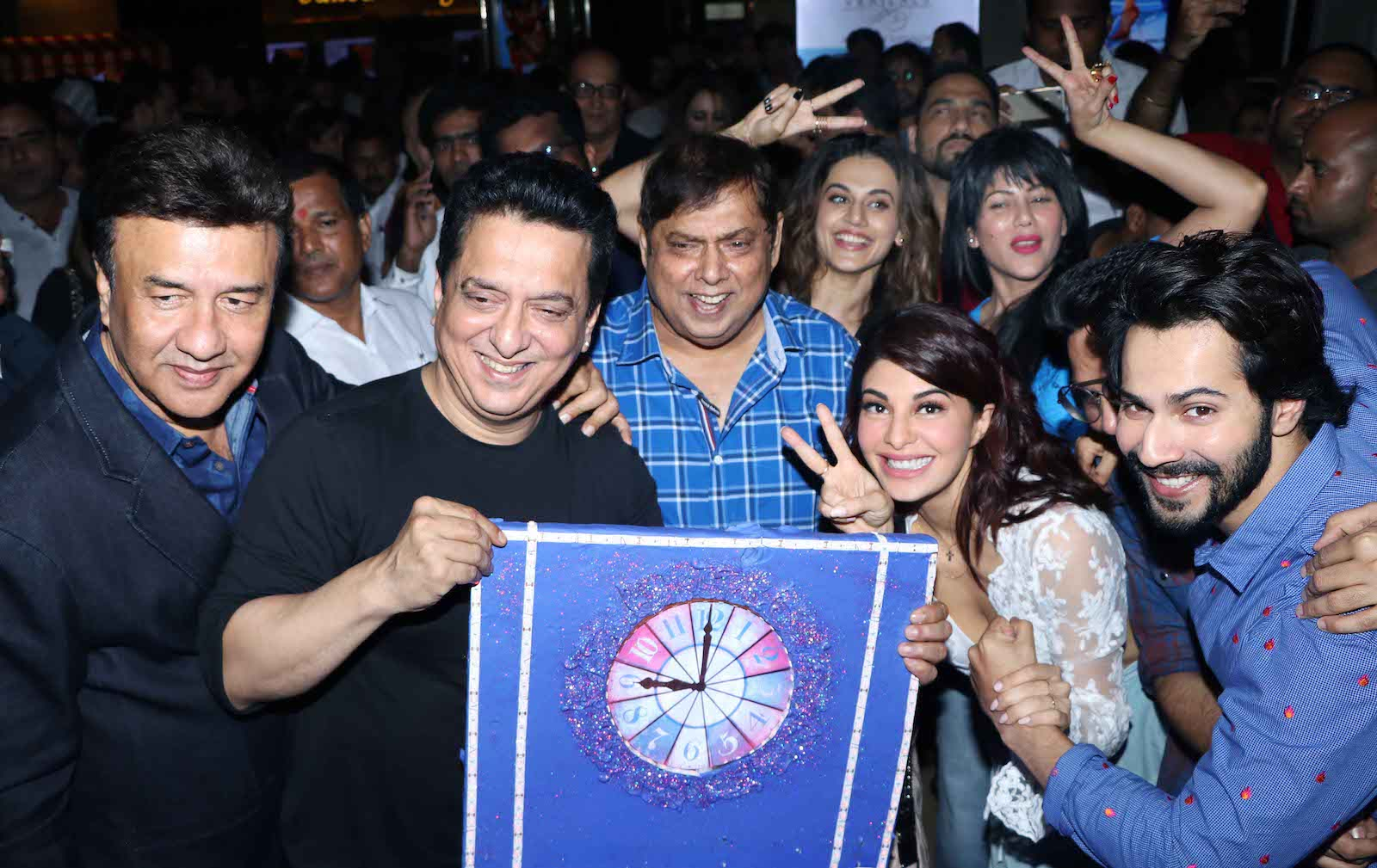 Sajid Nadiadwala with Varun Dhawan, Jacqueline Fernandez, Taapsee Pannu and director David Dhawan at Judwaa 2 Premiere night event